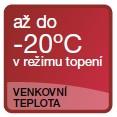 až do -20°C v režimu topení